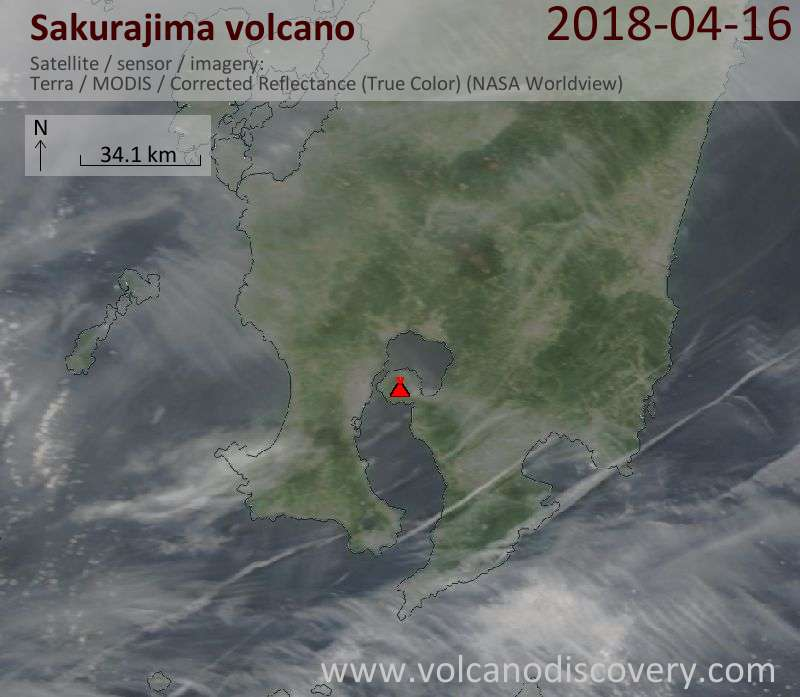 Satellite image of Sakurajima volcano on 16 Apr 2018