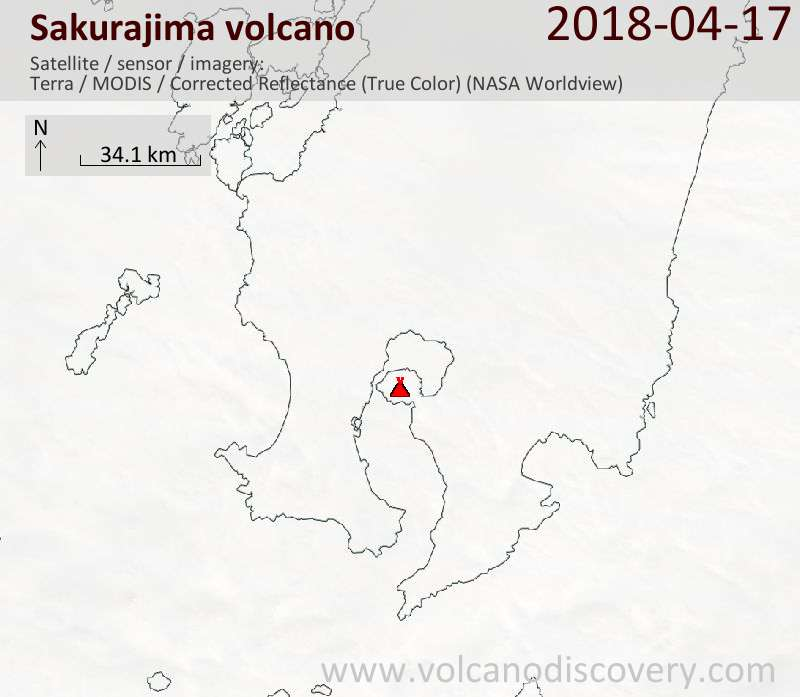 Satellite image of Sakurajima volcano on 17 Apr 2018