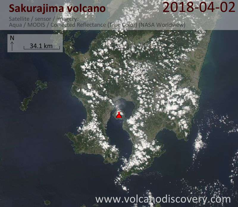 Satellite image of Sakurajima volcano on  2 Apr 2018