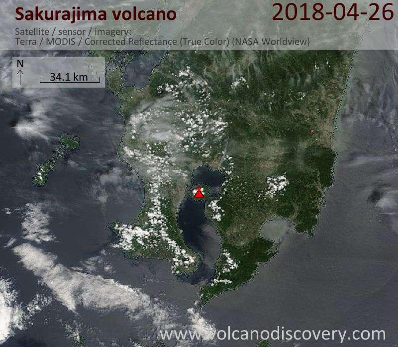 Satellite image of Sakurajima volcano on 26 Apr 2018