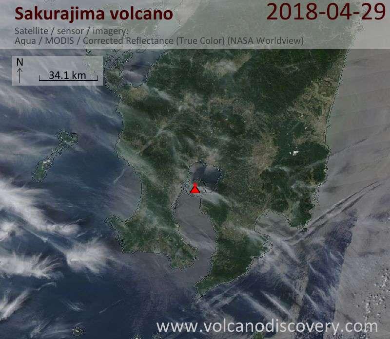 Satellite image of Sakurajima volcano on 29 Apr 2018