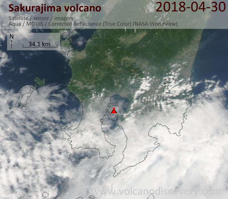 Satellite image of Sakurajima volcano on 30 Apr 2018