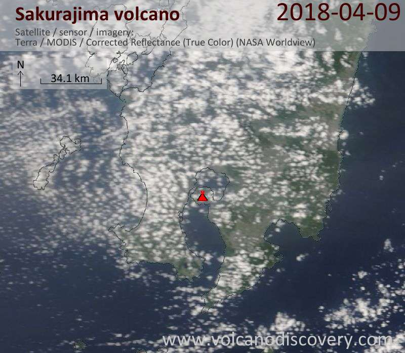 Satellite image of Sakurajima volcano on  9 Apr 2018