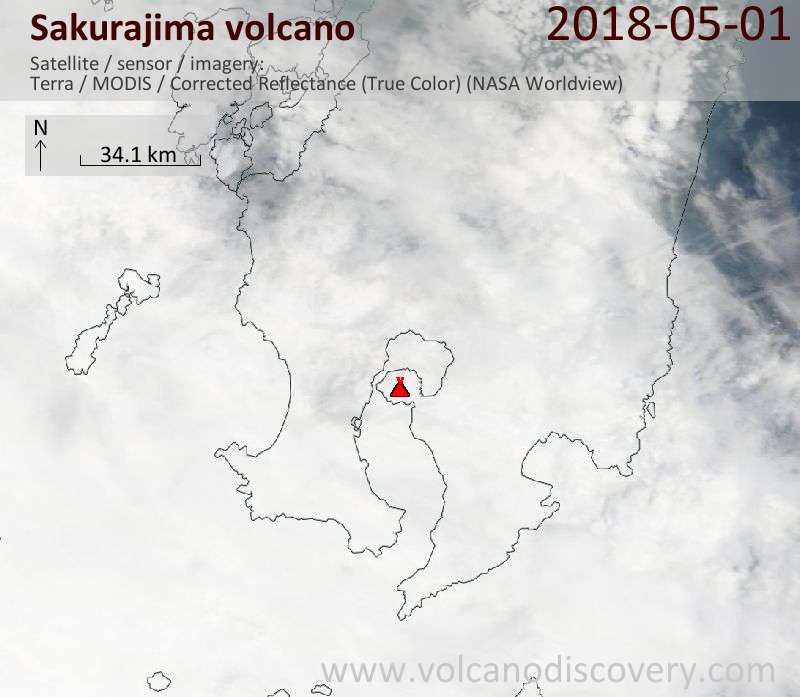 Satellite image of Sakurajima volcano on  1 May 2018