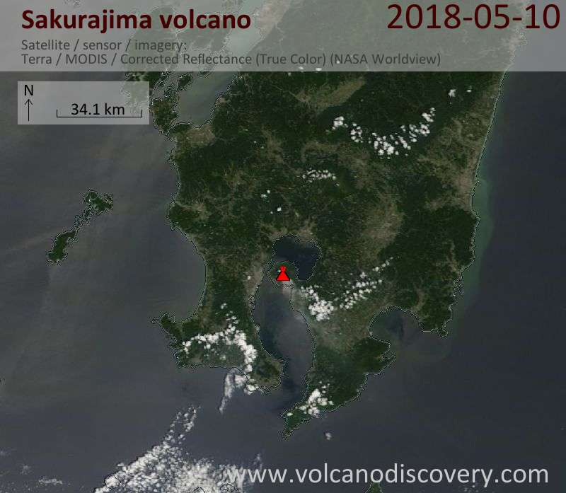 Satellite image of Sakurajima volcano on 10 May 2018