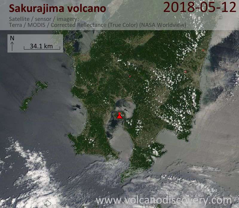 Satellite image of Sakurajima volcano on 12 May 2018