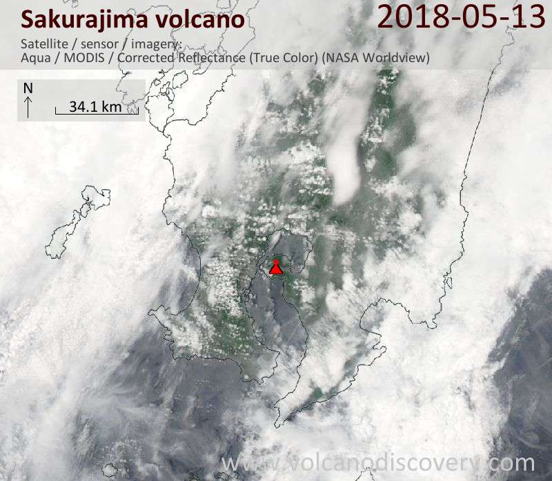 Satellite image of Sakurajima volcano on 13 May 2018
