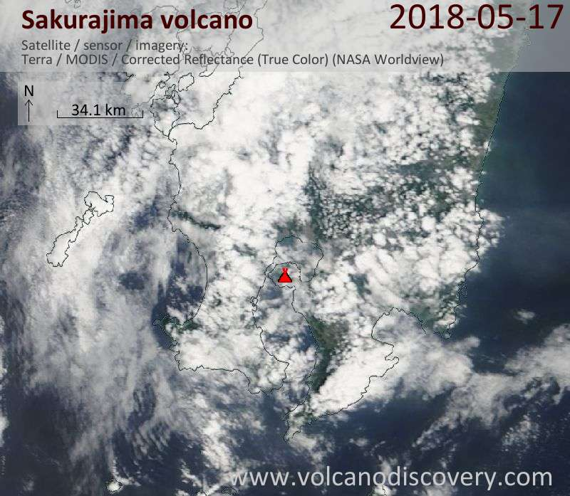 Satellite image of Sakurajima volcano on 17 May 2018