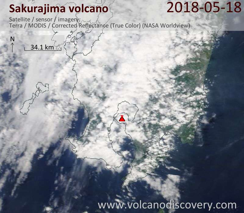 Satellite image of Sakurajima volcano on 18 May 2018
