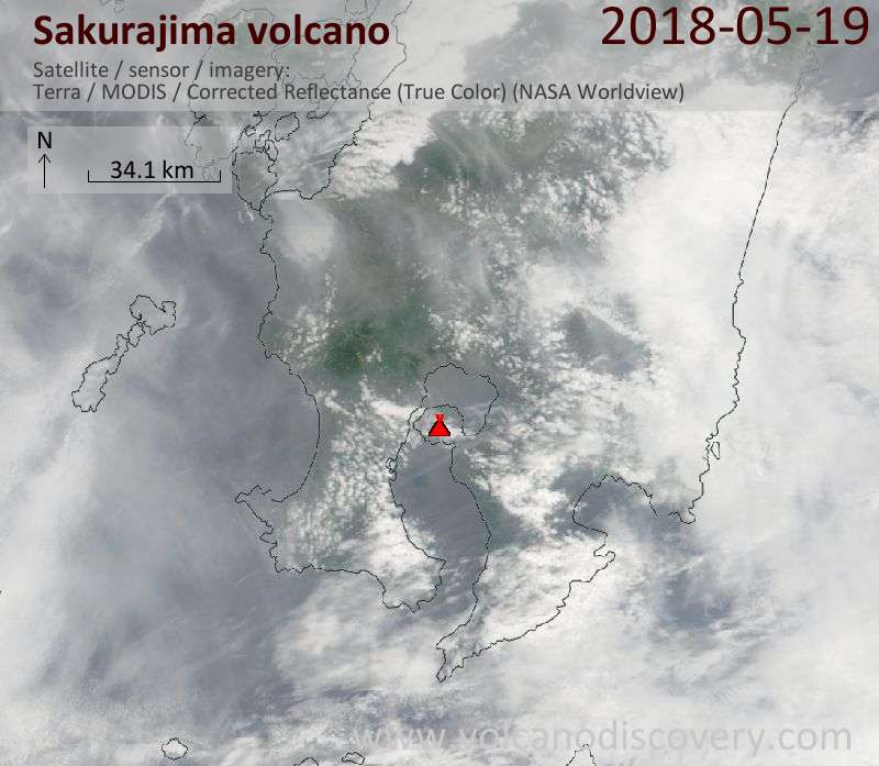 Satellite image of Sakurajima volcano on 19 May 2018
