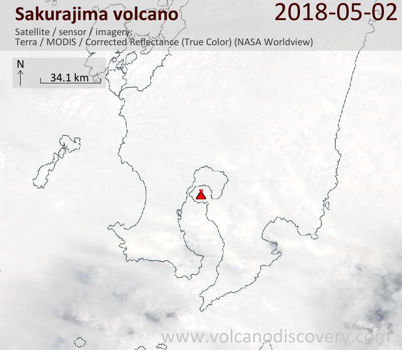 Satellite image of Sakurajima volcano on  2 May 2018