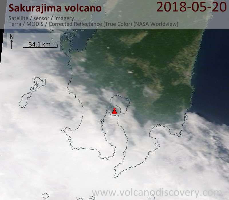 Satellite image of Sakurajima volcano on 20 May 2018