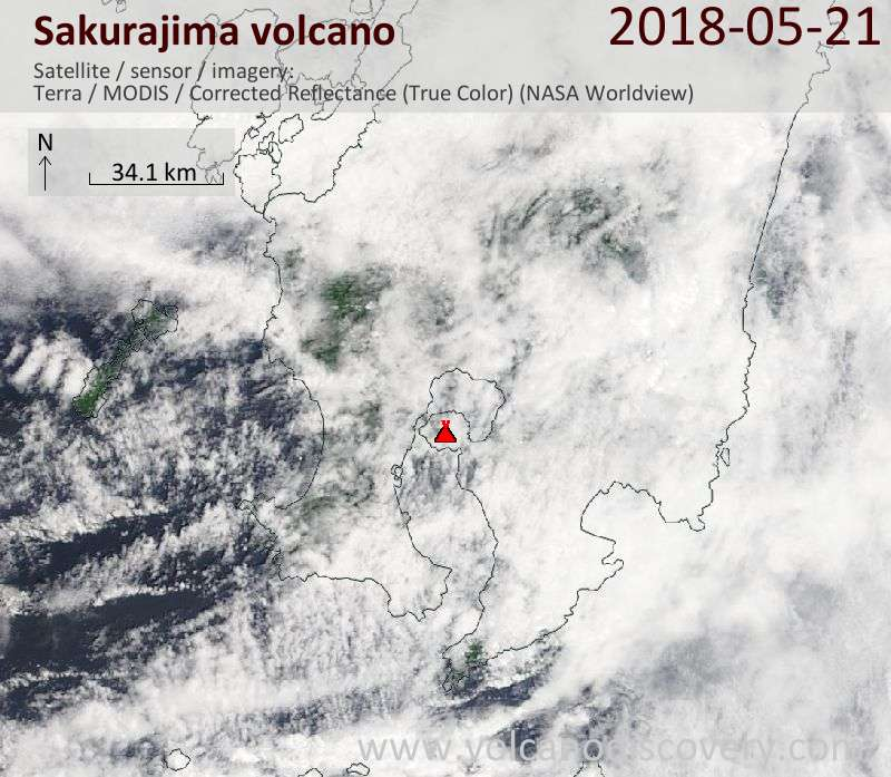 Satellite image of Sakurajima volcano on 21 May 2018