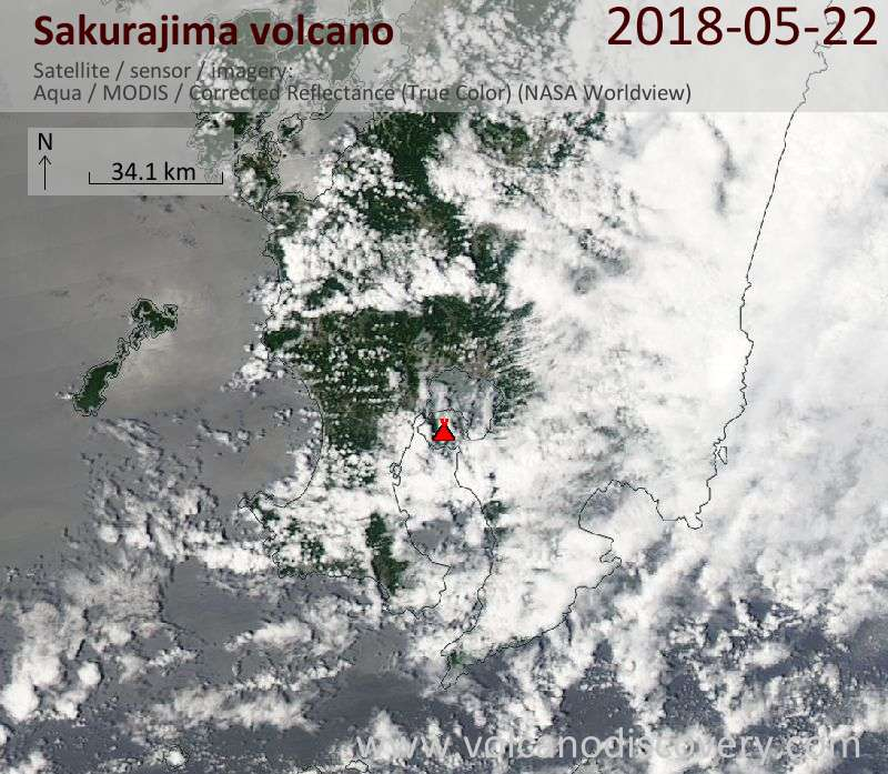 Satellite image of Sakurajima volcano on 22 May 2018
