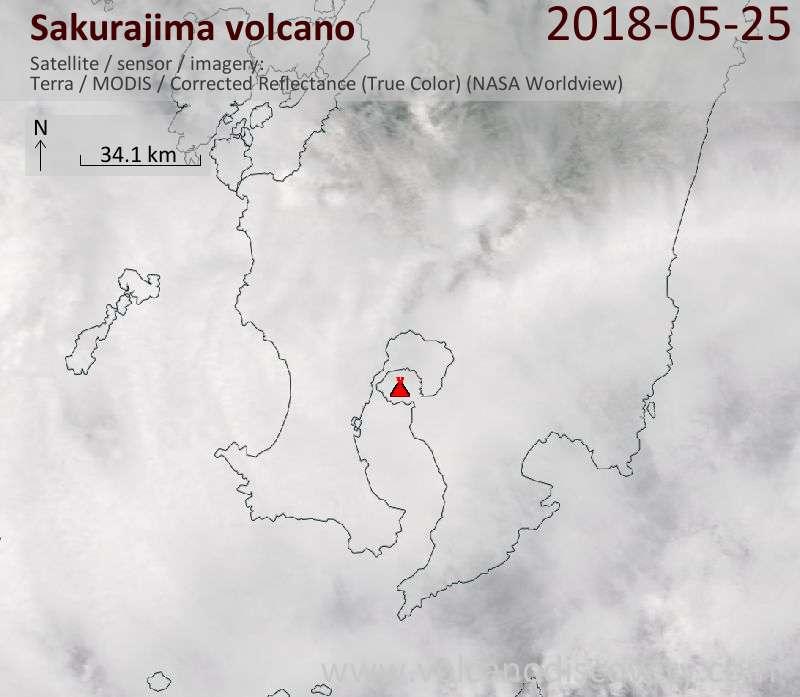 Satellite image of Sakurajima volcano on 25 May 2018