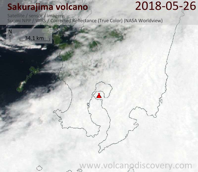 Satellite image of Sakurajima volcano on 26 May 2018