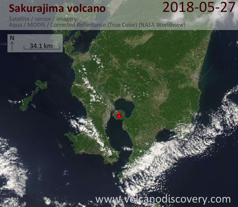 Satellite image of Sakurajima volcano on 27 May 2018