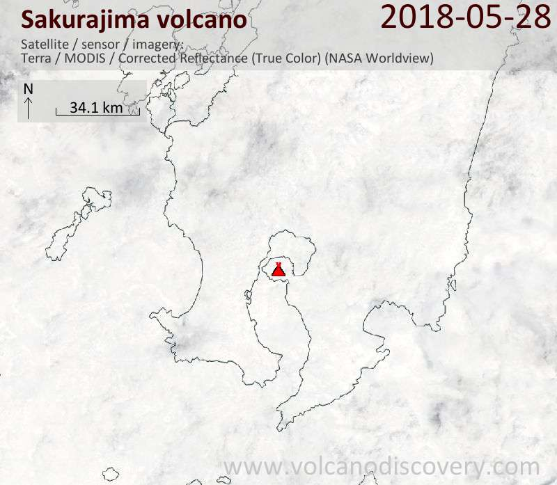 Satellite image of Sakurajima volcano on 28 May 2018