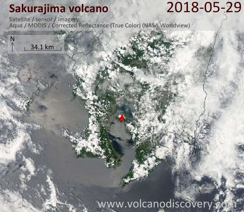 Satellite image of Sakurajima volcano on 29 May 2018