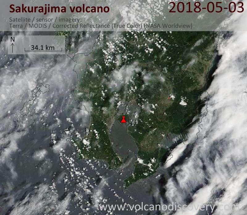 Satellite image of Sakurajima volcano on  3 May 2018