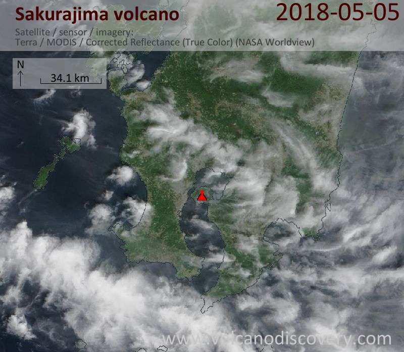 Satellite image of Sakurajima volcano on  5 May 2018