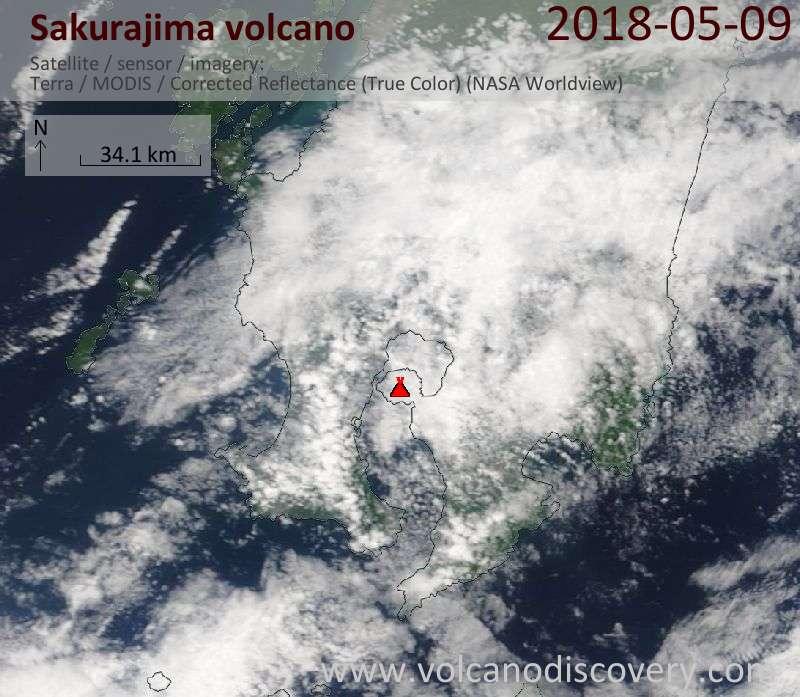 Satellite image of Sakurajima volcano on  9 May 2018