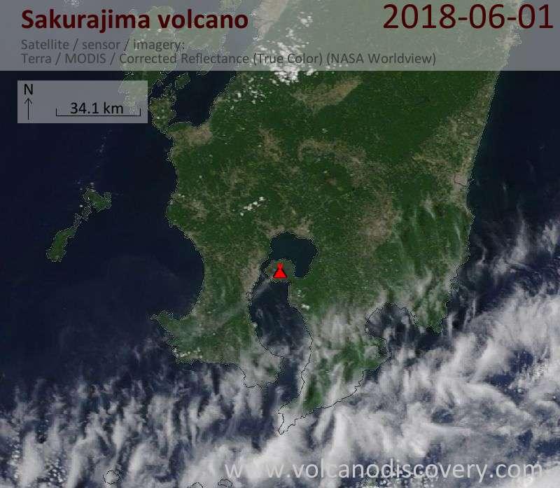 Satellite image of Sakurajima volcano on  1 Jun 2018