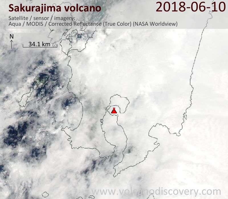 Satellite image of Sakurajima volcano on 10 Jun 2018