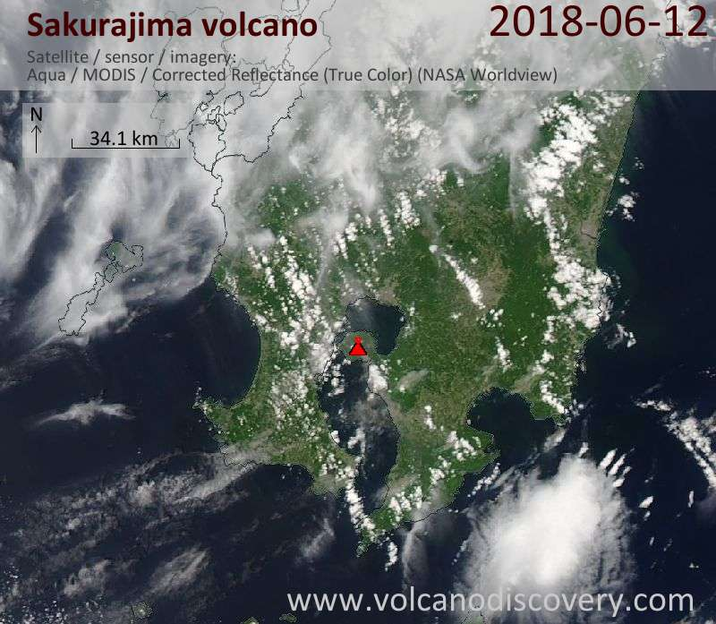 Satellite image of Sakurajima volcano on 12 Jun 2018