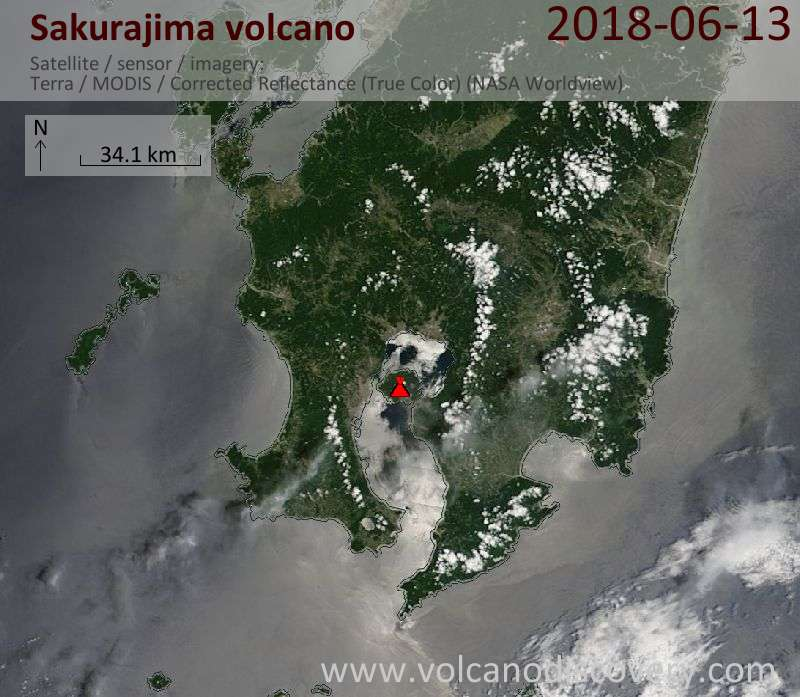 Satellite image of Sakurajima volcano on 13 Jun 2018