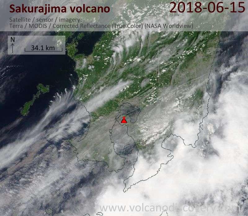 Satellite image of Sakurajima volcano on 15 Jun 2018