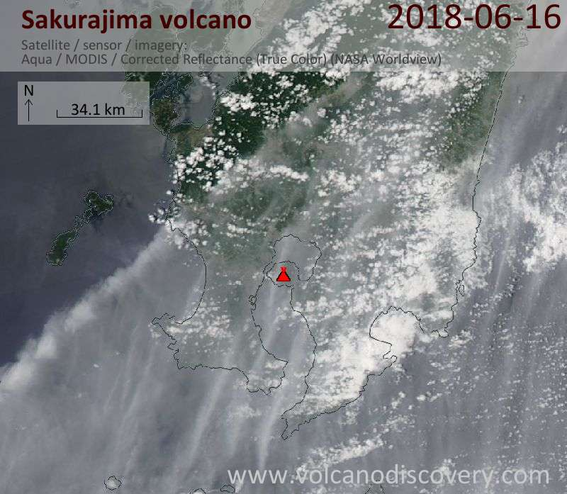 Satellite image of Sakurajima volcano on 16 Jun 2018