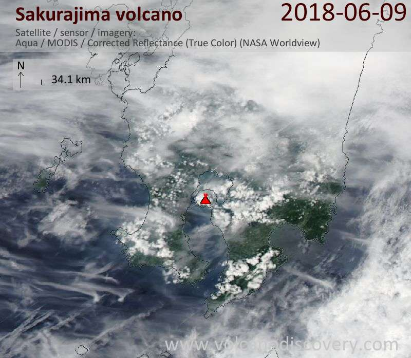Satellite image of Sakurajima volcano on  9 Jun 2018