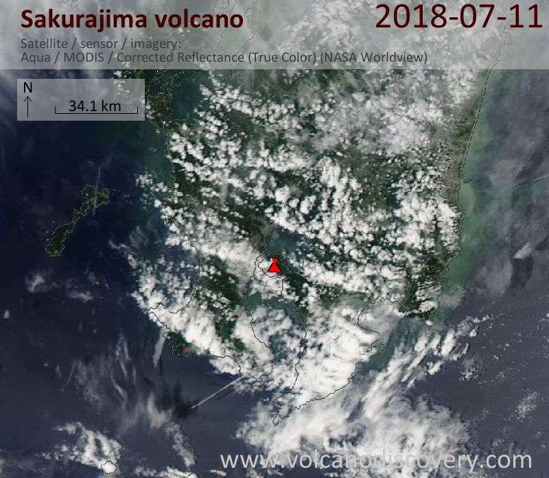Satellite image of Sakurajima volcano on 11 Jul 2018