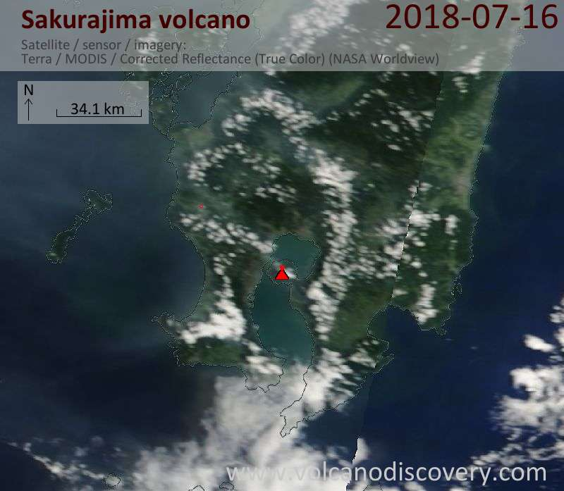 Satellite image of Sakurajima volcano on 16 Jul 2018