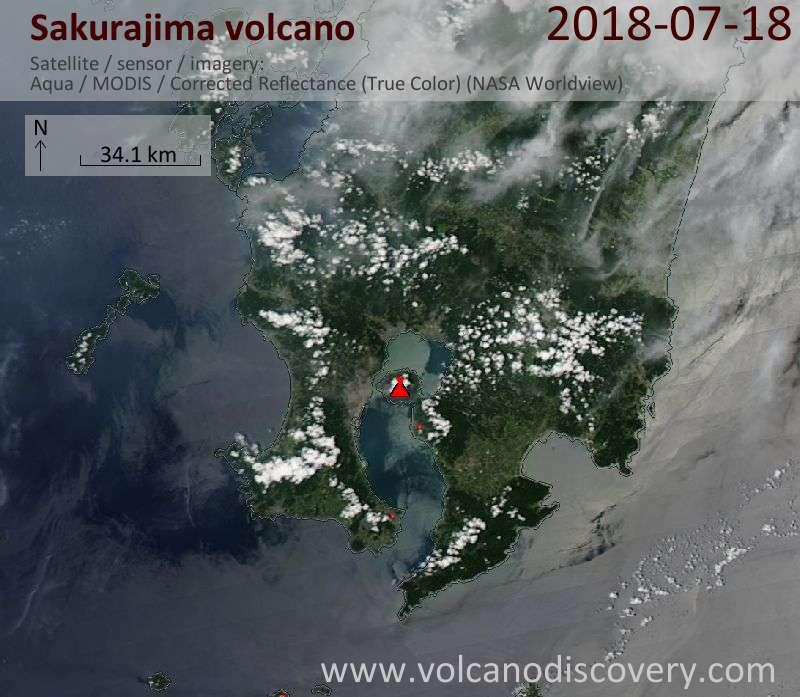 Satellite image of Sakurajima volcano on 18 Jul 2018