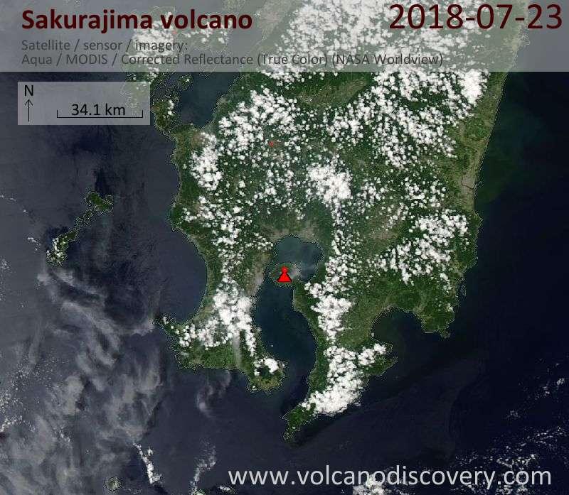 Satellite image of Sakurajima volcano on 23 Jul 2018