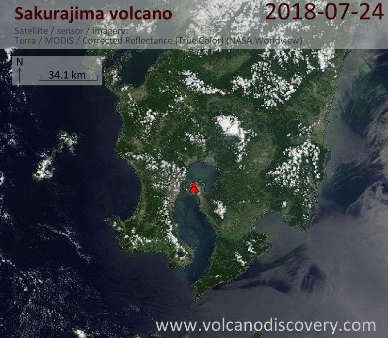 Satellite image of Sakurajima volcano on 24 Jul 2018