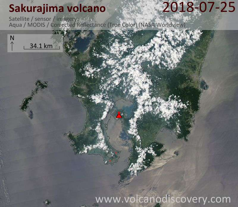 Satellite image of Sakurajima volcano on 25 Jul 2018