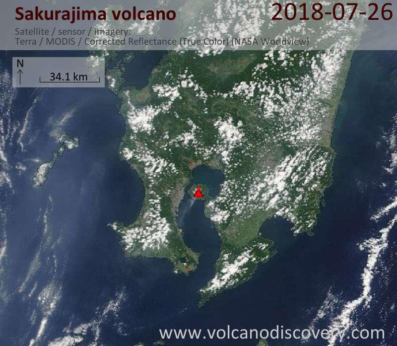 Satellite image of Sakurajima volcano on 26 Jul 2018