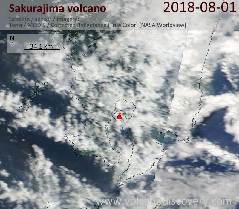 Satellite image of Sakurajima volcano on  1 Aug 2018