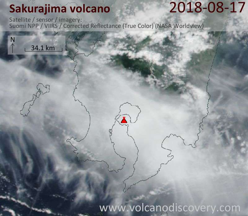 Satellite image of Sakurajima volcano on 17 Aug 2018