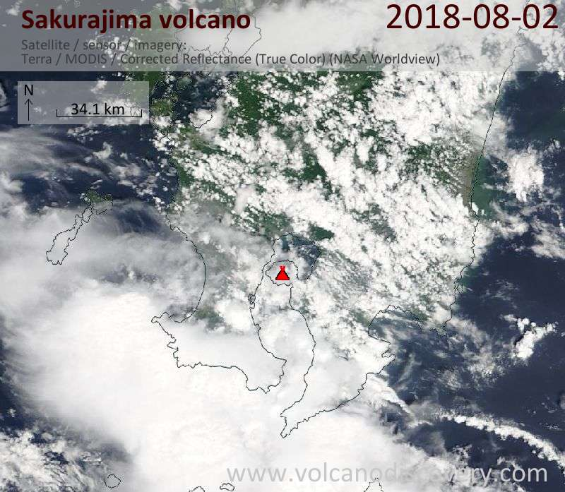Satellite image of Sakurajima volcano on  3 Aug 2018