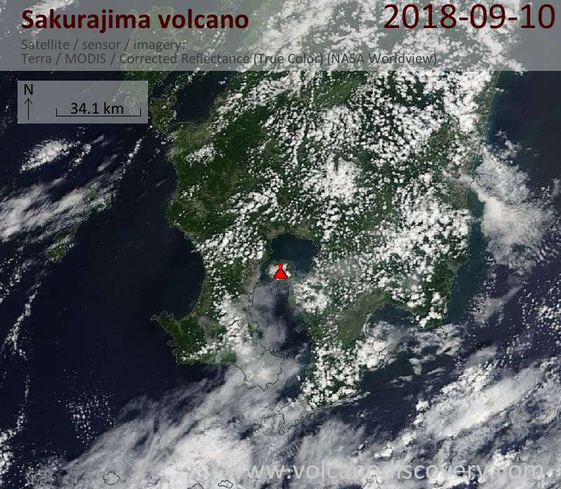 Satellite image of Sakurajima volcano on 10 Sep 2018