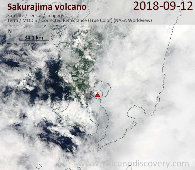 Satellite image of Sakurajima volcano on 12 Sep 2018