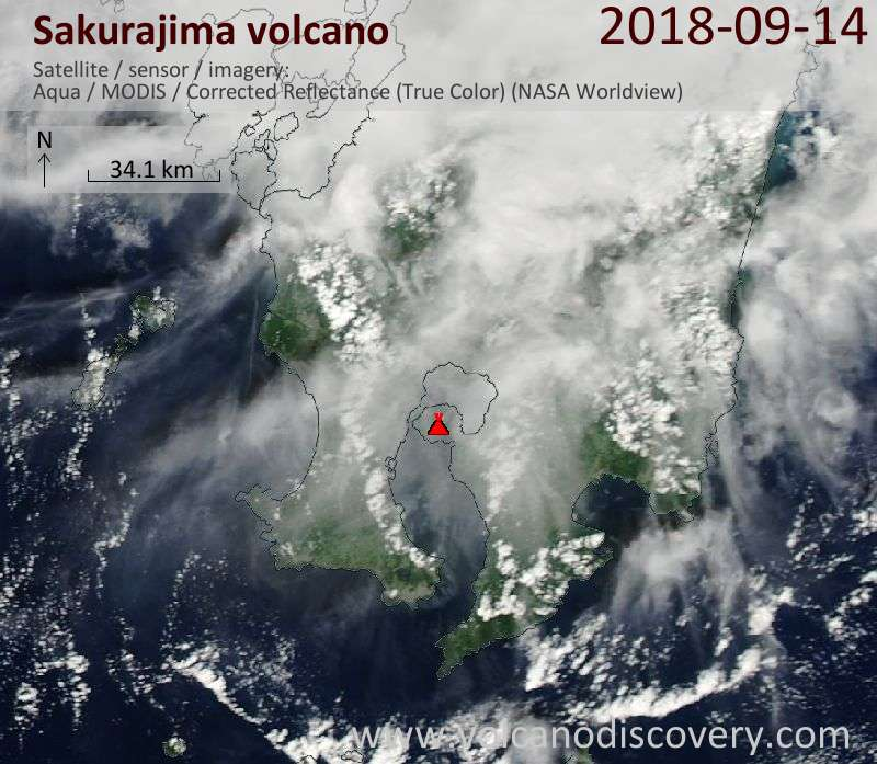 Satellite image of Sakurajima volcano on 14 Sep 2018
