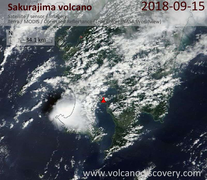 Satellite image of Sakurajima volcano on 15 Sep 2018