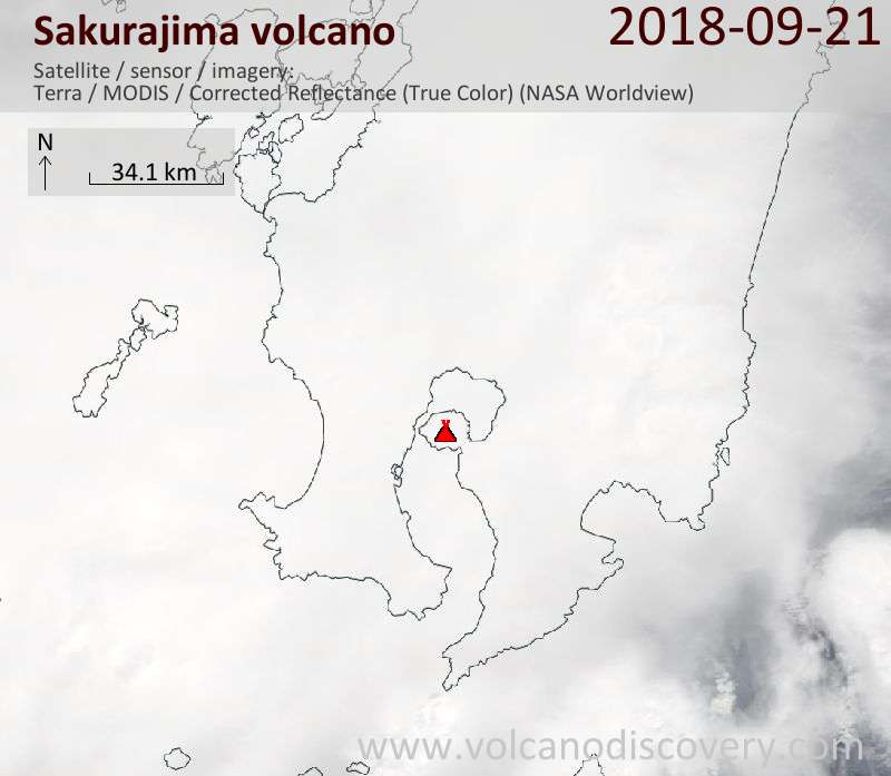 Satellite image of Sakurajima volcano on 21 Sep 2018