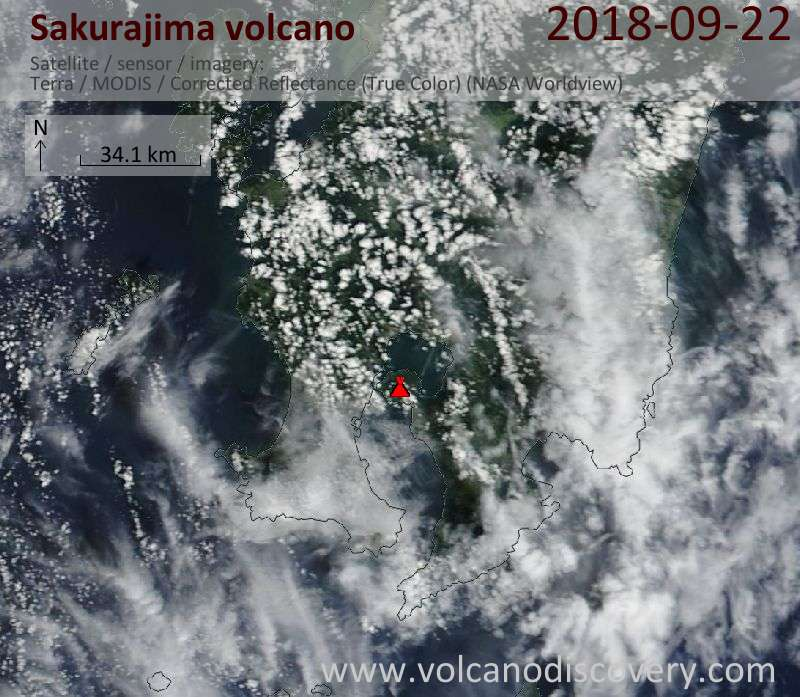 Satellite image of Sakurajima volcano on 22 Sep 2018