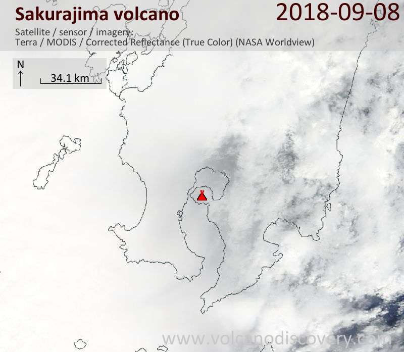 Satellite image of Sakurajima volcano on  8 Sep 2018